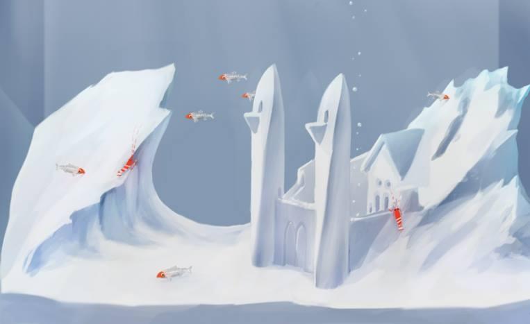 ilustração de aquário congelado com peixes saudáveis no inverno