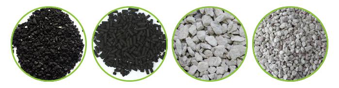 mídias de filtro químico como o carvão ativado